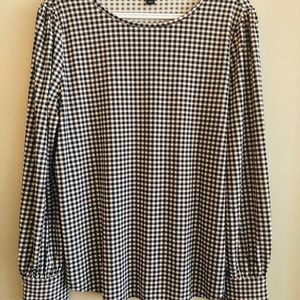 Ann Taylor navy gingham knit Top